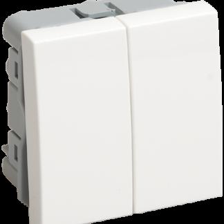 Выключатель проходной (переключатель) двухклавишный ВК4-22-00-П (на 2 модуля) ПРАЙМЕР белый IEK