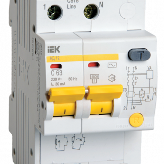 Дифференциальный автоматический выключатель АД12 2Р 50А 30мА IEK