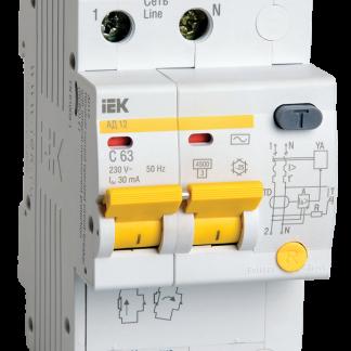 Дифференциальный автоматический выключатель АД12 2Р 63А 100мА IEK