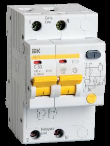 Дифференциальный автоматический выключатель АД12 2Р B16 30мА IEK