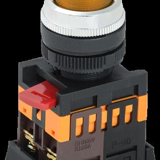 Кнопка ABLFP-22 желтый d=22мм неон/240В 1з+1р IEK