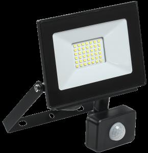 Прожектор светодиодный СДО 06-30Д с датчиком движения IP54 6500K черный IEK