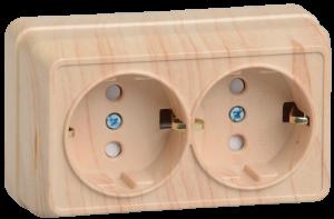 Розетка 2-местная для открытой установки РСш22-3-ОС с заземляющим контактом с защитной шторкой 16А ОКТАВА сосна IEK