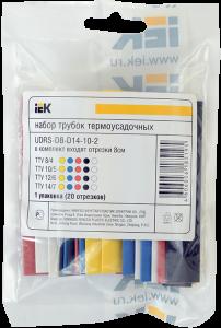 Набор трубок термоусаживаемых ТТУ 2/1, 4/2, 6/3, 8/4 З, С, К, Ч, Б (20х8см/упак) IEK