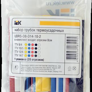 Набор трубок термоусаживаемых ТТУ 8/4 (4хЧ, 2хБ, К, С, Ж, З) (10х10см/упак) IEK
