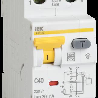 Автоматический выключатель дифференциального тока АВДТ32 C50 100мА IEK