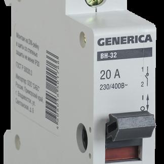 Выключатель нагрузки (мини-рубильник) ВН-32 1Р 20А GENERICA
