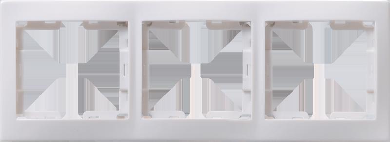 Рамка 3-местная горизонтальная РГ-3-КБ КВАРТА белый IEK