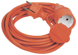 Шнур УШ-01РВ с вилкой и розеткой 2Р+РЕ/10м 3х1,0мм2 IP44 оранжевый IEK