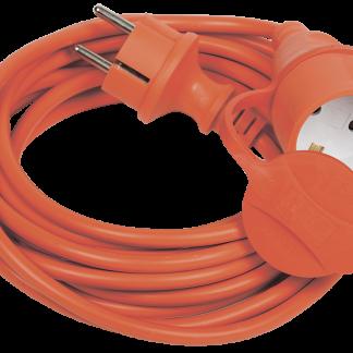 Шнур УШ-01РВ с вилкой и розеткой 2Р+РЕ/5м 3х1,0мм2 IP44 оранжевый IEK