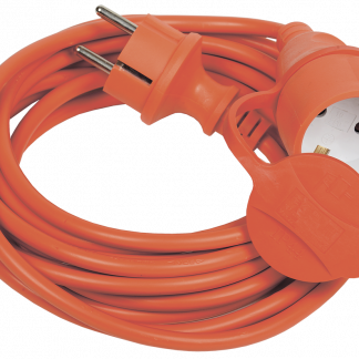 Шнур УШ-01РВ с вилкой и розеткой 2Р+РЕ/40м 3х1,0мм2 IP44 оранжевый IEK