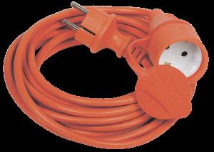 Шнур УШ-01РВ с вилкой и розеткой 2Р+РЕ/50м 3х1,0мм2 IP44 оранжевый IEK