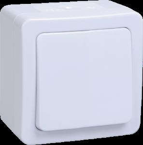 Выключатель 1-клавишный для открытой установки ВС20-1-0-ГПБ IP54 ГЕРМЕС PLUS (цвет клавиши: белый) IEK