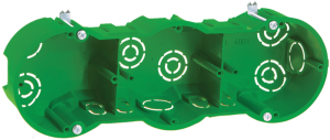 Коробка установочная КМ40024 3-х местная 212х70x45мм для полых стен (с саморезами и металлическими лапками) IEK
