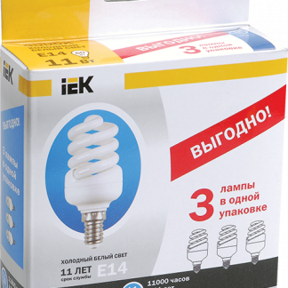 Лампа энергосберегающая КЭЛ-FS спираль Е27 15Вт 2700К Т2 (ПРОМОПАК 3шт) IEK