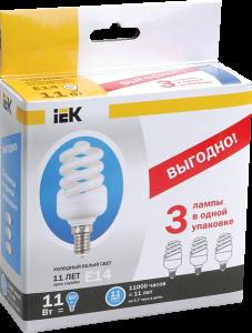 Лампа энергосберегающая КЭЛ-FS спираль Е14 11Вт 4000К Т2 (ПРОМОПАК 3шт) IEK