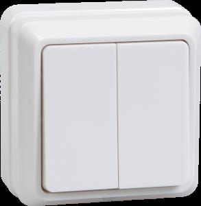 Выключатель 2-клавишный для открытой установки ВС20-2-0-ОКм 10А ОКТАВА кремовый IEK