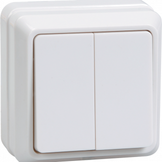 Выключатель 2-клавишный для открытой установки ВС20-2-0-ОБ 10А ОКТАВА белый IEK