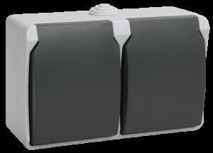 Розетка 2-местная для открытой установки РСб22-3-ФСр с заземляющим контактом ФОРС IP54 IEK