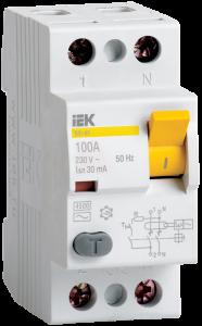 Выключатель дифференциальный (УЗО) ВД1-63 2Р 16А 10мА тип А IEK