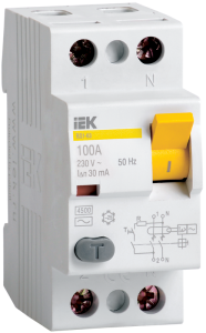 Выключатель дифференциальный (УЗО) ВД1-63 2Р 16А 30мА тип А IEK