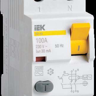 Выключатель дифференциальный (УЗО) ВД1-63 2Р 50А 30мА тип А IEK