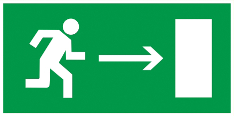 """Самоклеящаяся этикетка 200х100мм """"Направление к эвакуационному выходу направо"""" IEK"""