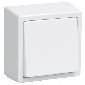 Выключатель 1-клавишный для открытой установки ВС20-1-0-ББ БРИКС белый IEK
