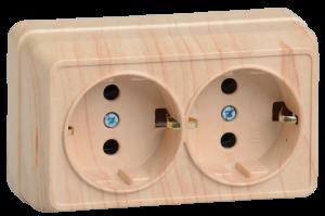 Розетка 2-местная для открытой установки РС22-3-ОС с заземляющим контактом 16А ОКТАВА сосна IEK