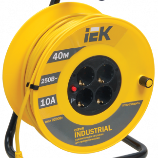 Катушка УК40 с термозащитой 4 места 2Р+PЕ/40м 3х1,0мм2 Industrial IEK