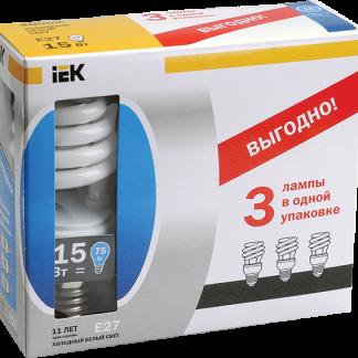 Лампа энергосберегающая КЭЛ-S спираль Е27 15Вт 4000К Т2 (ПРОМОПАК 3шт) IEK