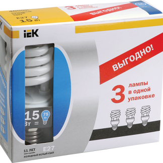 Лампа энергосберегающая КЭЛ-S спираль Е27 15Вт 2700К Т2 (ПРОМОПАК 3шт) IEK