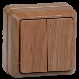 Выключатель 2-клавишный для открытой установки ВС20-2-0-ОД 10А ОКТАВА дуб IEK