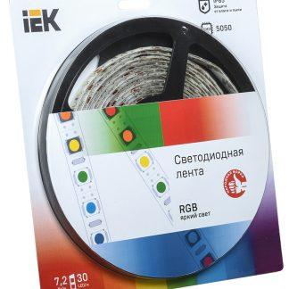 Лента светодиодная 5м блистер LSR-5050RGB30-7,2-IP65-12V IEK