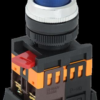 Кнопка ABLFP-22 синий d=22мм неон/240В 1з+1р IEK