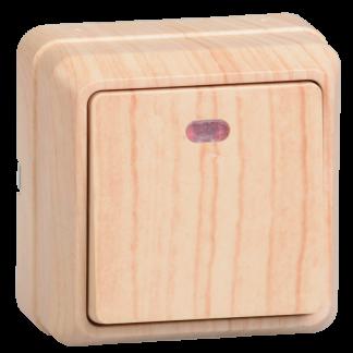 Выключатель 1-клавишный для открытой установки с индикацией ВС20-1-1-ОС 10А ОКТАВА сосна IEK