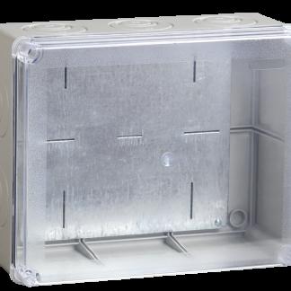 Коробка распаячная КМ41346 для о/п 240х195х90мм IP55 (RAL7035, монтажная плата, кабельные вводы 5шт) IEK
