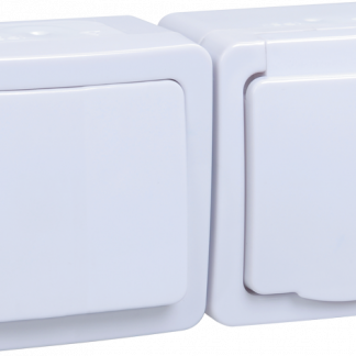Блок горизонтальный для открытой установки БГб-22-31-ГПБб (Выключатель 1-клавишный + розетка 1-местная с заземляющим контактом) IP54 ГЕРМЕС PLUS (белый/белый) IEK